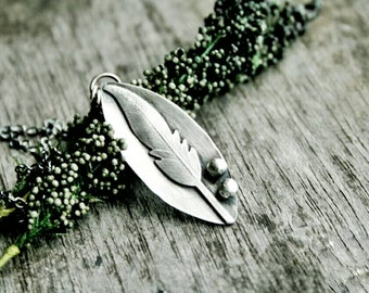Sterling Silver Feather Necklace - Free Spirit Necklace - Silver Feather Pendant - Rustic Necklace - Boho Necklace -  Gifts For Her