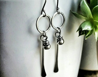 Sterling Silver Tribal Earrings - Boho Jewelry - Rustic Silver Jewelry - Long Dangle Earrings - Silver Circle Earrings - Gifts For Her