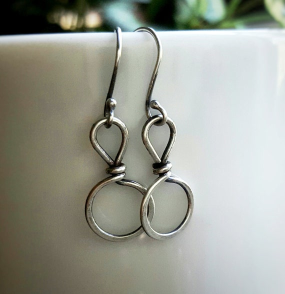 Small Circle Earrings - Sterling Silver Circle Earring - Wire Wrapped Earring - Delicate Simple Earrings - Rustic Earring - Everyday Earring