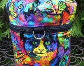 Cat knitting bag, knitting in public drawstring bag, knitting project bag, WIP, Painted Cats, Kipster