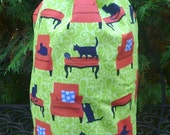Cat drawstring bag, WIP bag, knitting project bag, Cats on Chairs, Large Suebee