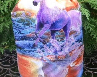 Horse knitting project bag, WIP bag, drawstring bag, Horse on the Beach, Suebee