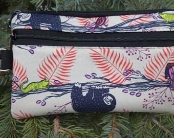 Sloth mini wallet, purse organizer, wristlet, iPhone purse, Pick Your Color, Sweet Pea