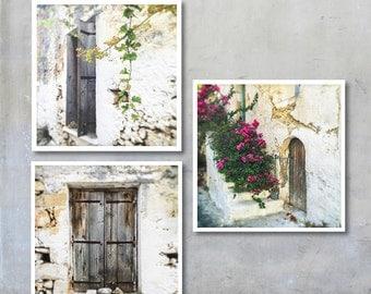 Three Greek Village House Prints - Crete shabby chic window shutters vine Bougainvillea flowers photo set 22x22 12x12 18x18