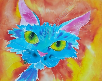 "Original silk painting by Padgett Mason. FUNKY FELINE 20""X 20"""