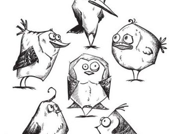 Bird Crazy Tim Holtz Stampers Anonymous Cling Mounted Rubber Stamp CMS212