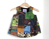 African Bright Patchwork Baby Girls Dress  | Sizes 3 - 6 Months | Funky Children's Clothing from Africa Textile