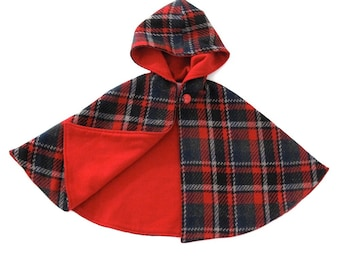 Red Plaid Wool Warm Hooded Cape with Red Flanel Lining - Size Newborn to 9/10 - Warm Winter Jacket, Winter Coat, Capelet, Poncho
