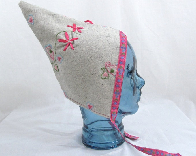 Girls' Reversible Pixie Bonnet, Baby Bonnet, Warm Winter Hat - Gray Embroidered Wool Bonnet with Ribbon Trim - Baby Girls Size 6 - 12 Months