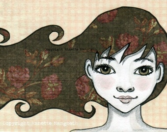 Delaney - Original ACEO illustration - Miniature art card - Mixed media original girl with brown eyes flower hair
