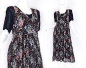 Sz M 90s Sheer Layered Floral Print Maxi Dress - Women's Vintage Crinkle Pleated Boho Layered Black Flower Patterned Dress