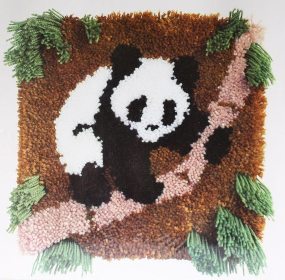 Latch Hook Kit Panda Bear Cub Wall Hanging Vintage Bernat