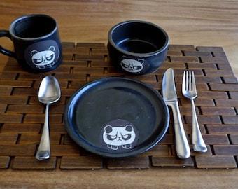 Angry Panda Dish Set