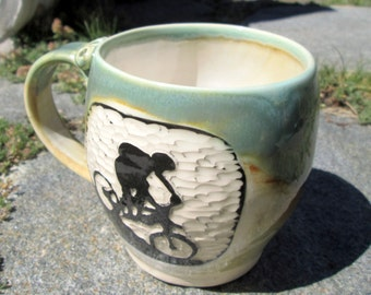 Handcarved Mountain Biker Mug