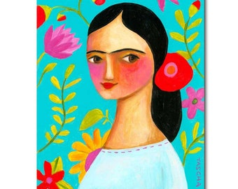 ORIGINAL acrylic painting FRIDA KAHLO with floral background on turquoise by Tascha 10x8