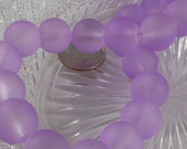 12mm Large Sea Glass Beads Smooth Round Frosted Matte Lilac (Qty 6) PH-SG12-LILAC