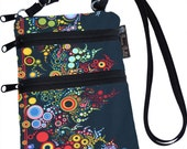 Cross body Purse - 3 Zippered Pockets - Adjustable Strap - Washable - FAST SHIPPING - Cell Phone Purse - Happy Fabric