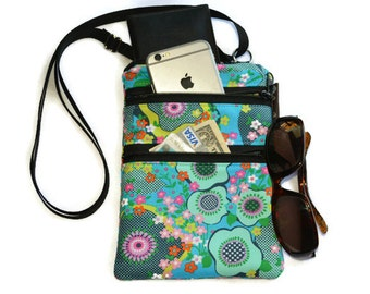 Crossbody Purse - 3 Zippered Pockets Bag - Small Cross body zippered pocket Purse Bag -Washable - Small Cell Phone Purse -Sea Flower fabric