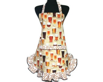Craft Beer Apron for Women,  Pint Glasses with Pretzel Ruffle, Brewery Kitchen Decor