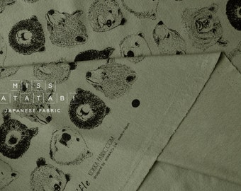 Japanese Fabric Kokka Trefle Bears knit - olive green - 50cm