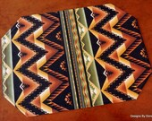 """Quilted Placemats, Reversible, """"The Great North Wilderness"""" """"Western Blanket"""" and Caramel Color Streaks, Handmade, Table Linens"""