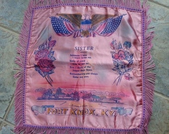 Vintage Army Fort Knox Kentucky Pink Satin Souvenir Pillow Cover For Sister