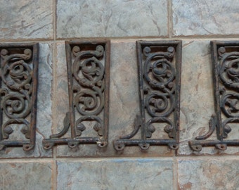Vintage Set of 4 Architectural Furniture Salvage Cast Iron Arms Brackets Repurpose