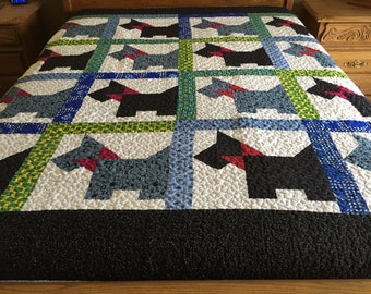 Machine pieced and quilted full size scotty Dog quilt