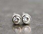 Moissanite Stud Earrings - White Gold Stud Earrings - Tiny Studs - Diamond Alternative - Small Stone Studs - White Gold Studs -Made to Order