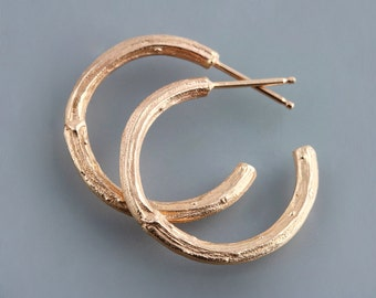 14k Rose Gold Twig Hoop Earrings - Dogwood Branch Natural Texture Earrings - Simple Rose Gold Hoops - Luxury Gift for Women - Made to Order