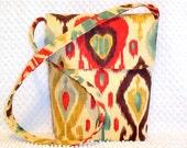 Ikat Messenger Bag - Cross Body Bag - Southwestern Crossbody Purse - Ikat Hobo Bag - Shoulder Purse - Django Persia Fabric Bag - For Her