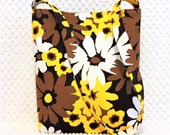 Vintage Daisy Hobo Bag Purse - Shoulder Bag - Handmade Handbag - Brown and Yellow Bag - Kitsch Floral Fabric Purse - Handmade Purse For Her
