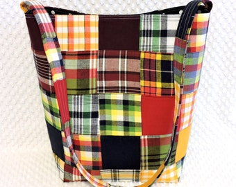 Madras Plaid Patchwork Purse - Large Hobo Bag - Large Shoulder Bag - Madras Plaid Bag - Handmade Purse - Madras Plaid Fabric Purse - For Her