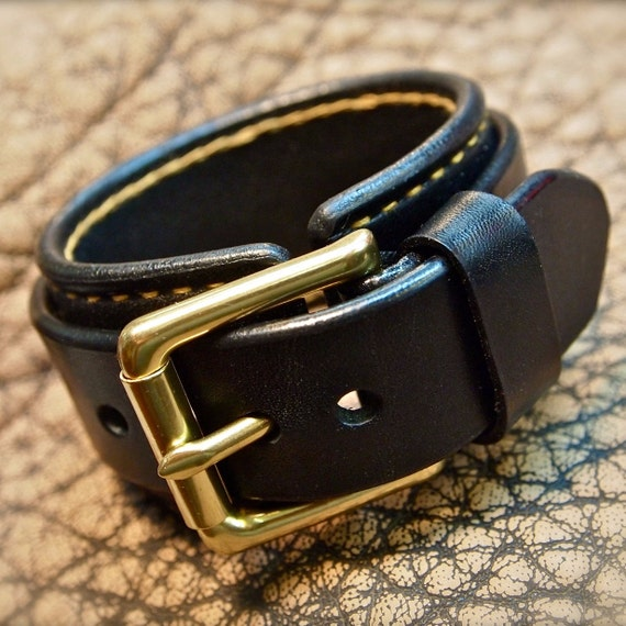 Leather cuff Bracelet Black with Gold hand stitching- Custom crafted for YOU in NYC!