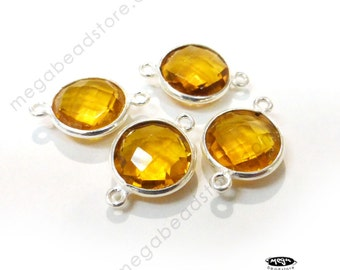 4 pcs 10mm Sterling Silver Bezel Yellow Citrine Hydro Wrapped Connector F391S