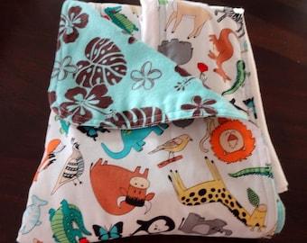 Newborn Gift Set - Animal ABC's Aloha Receiving Blanket/Burp Cloths