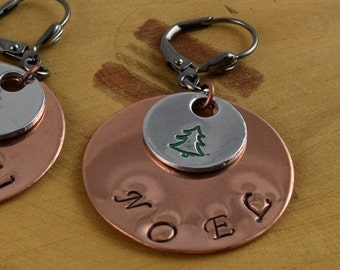 Noel hand stamped layered mixed metal aluminum and copper leverback earrings