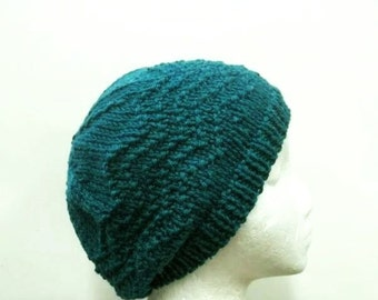 Teal knitted beanie beret hat in diagonal pattern   4736