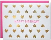 Birthday Hearts Foil Card
