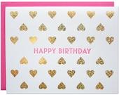 Birthday Hearts Foil Card