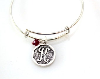 Birthstone Initial Bracelet, Bracelet for Mother with Kids Initials, Silver Initial Bracelet, Gift for Mom, Personalized Bangle