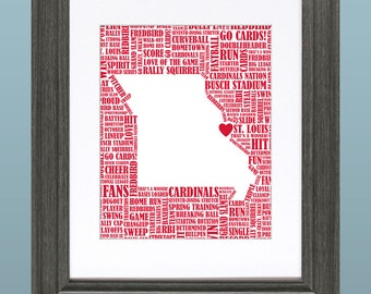 St. Louis Cardinals Word Art 8x10 Inch Printable