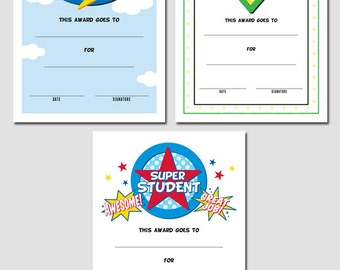 Set of 3 Super Student Award Printables