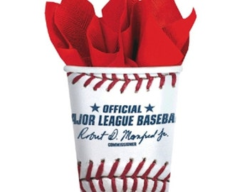 Rawlings Baseball Party Paper Cups-8 Count (9oz.)-NEW