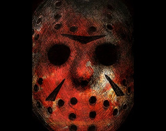 "Print 11x17"" - Jason Voorhees - Friday the 13th Hockey Mask Horror Slasher Dark Art Serial Killers Freddy Krueger Pop Lowbrow Blood Hockey"