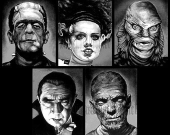 "Prints 8x10"" - Monsters - Classic - Set of 5 - Black and White Horror Dark Art Frankenstein Dracula Mummy Wolfman Vintage Spooky Halloween"