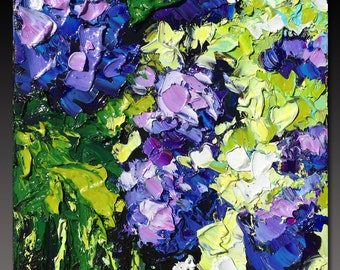 Oil Painting  Hydrangea ART B. Sasik  Painting Original Palette Knife