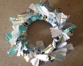 2 Handmade Turqouise White Green Blue Fabric Christmas Wreath Ornaments or Your Choice of Colors - Made to Order - Customizable
