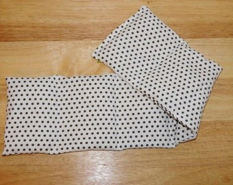 Sectioned Warming Neck Wrap Microwavable Rice Bag Sectioned - 5x22 - White with dark brown polka dots