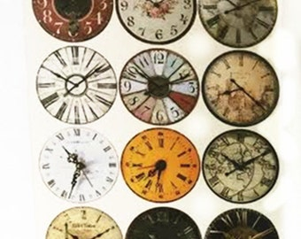 5 Sheets of 12 Pre-printed Vintage Images collage sheet 20 mm circle for cabochon-8516D